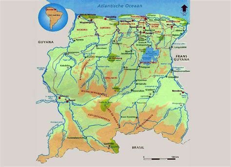 where is suriname on a map detailed map of suriname with cities suriname detailed