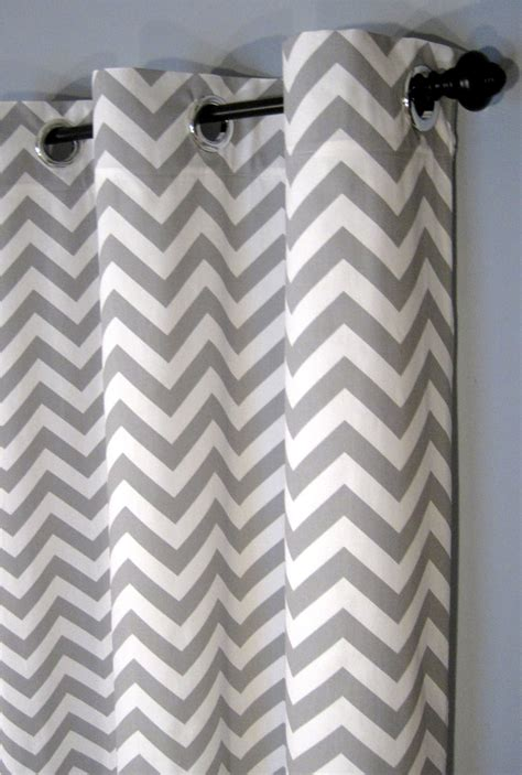 White And Grey Chevron Curtains 25 X 96 Inch Blackout Lined Grey Zig Zag By Designerpillowshop