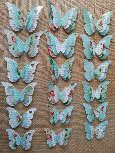 Handmade Paper Butterflies - free shipping 3 layer handmade paper butterfly decor
