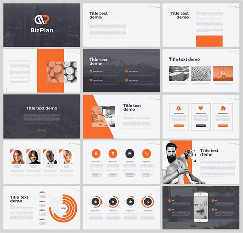 design brochure using powerpoint 오렌지 컬러를 포인트로 사용한 ppt 템플릿 free orange grey powerpoint
