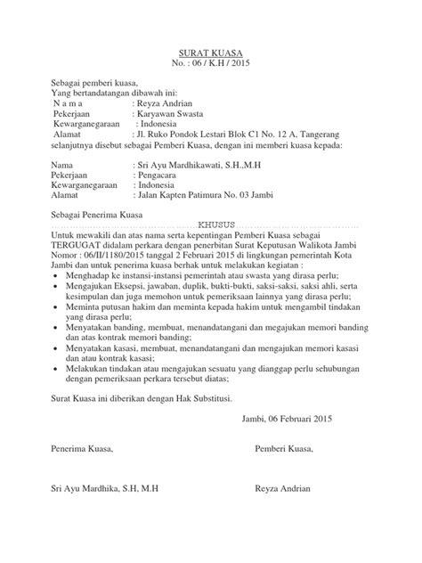 Contoh Surat Kuasa Khusus Ptun Pdf