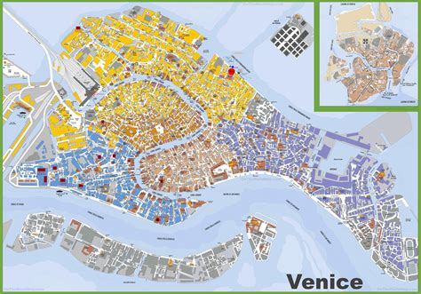 detailed street map  venice italy map  detailed