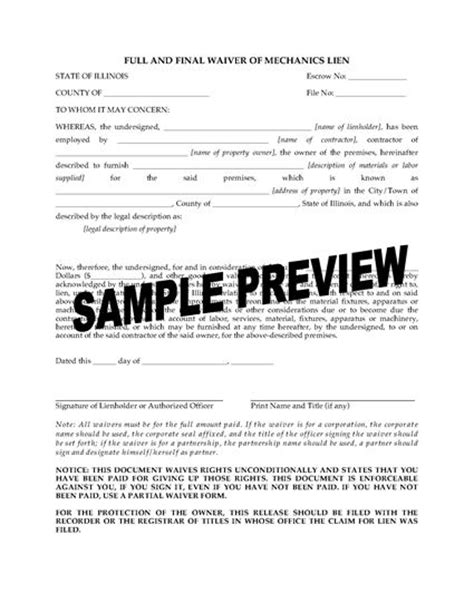 dividend waiver form template illinois and waiver of mechanics lien