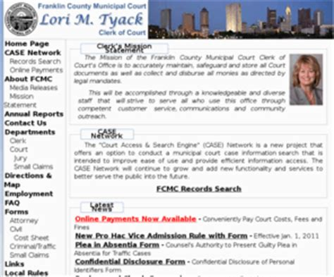 Franklin County Clerk Of Courts Records Fcmcclerk Franklin County Municipal Court Clerk Website Lori M Tyack
