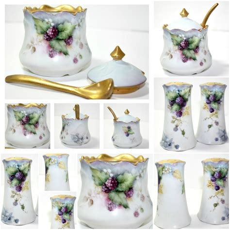 antique hand painted porcelain ls antique hand painted porcelain purple berries gilt mustard