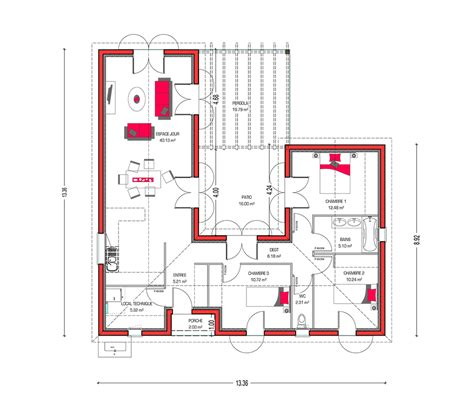 plan maison avec patio plan de maison avec patio interieur gallery of maison