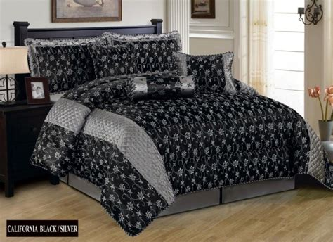 black bed spread luxurious 7pcs quilted bed spread set comforter set california black silver