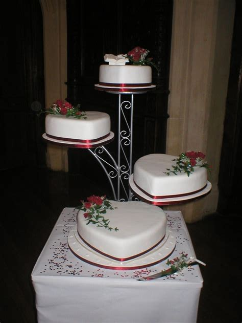 Four tier heart shaped Wedding cake decorated with