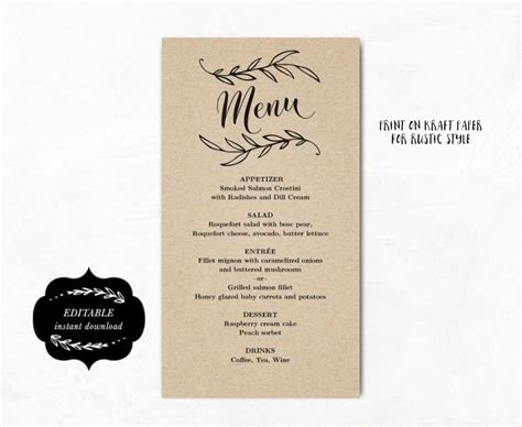 printable wedding menu template kraft wedding menu