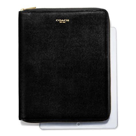 coach zip  ipad case  saffiano leather  black lyst