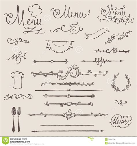 vintage menu design elements vector set vector set of vintage design elements decoration stock