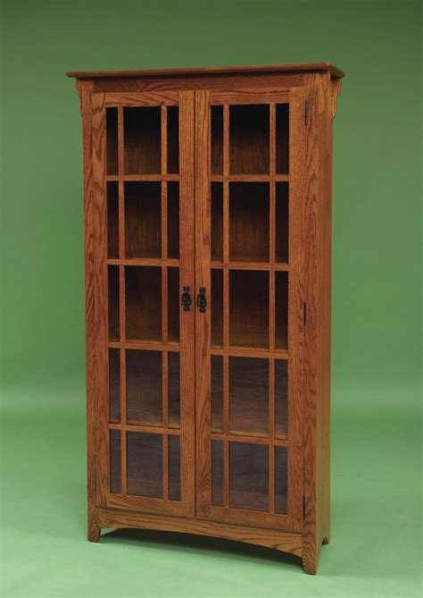 Mission Style Bookcase With Glass Doors Mission Bookcases Amish Furniture 3082