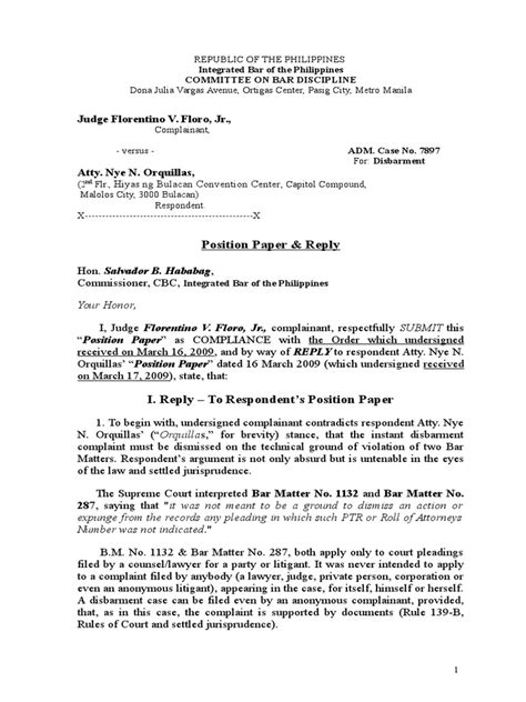 Adm Case No 7897 Position Paper Doc Complaint Pleading Complaint Pleading Template