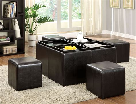 leather storage ottoman with tray furniture storage ottoman cube ideas that will bring a