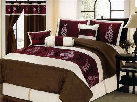 7 pc satin pinnate leaves striped comforter set brown