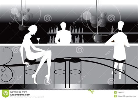 Bar Restaurant Lounge Coffee Women Illustration Stock