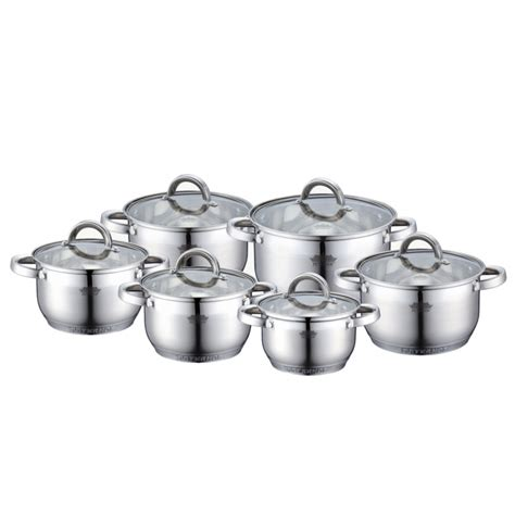 Panci Set Stainless Cookware 12pcs stock pot set 12pcs