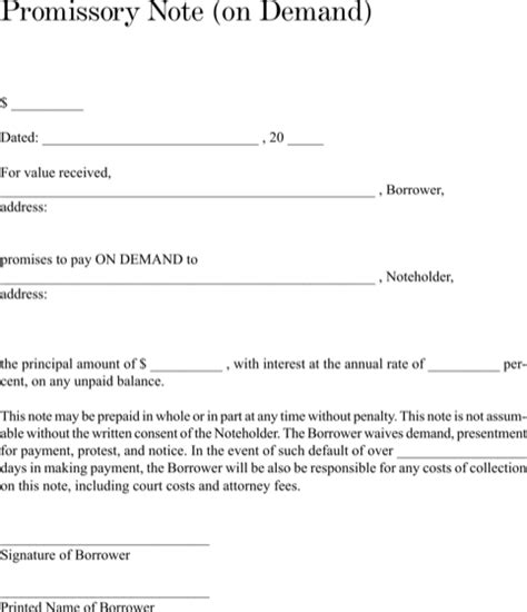 demand promissory note template promissory note templates for excel pdf and word