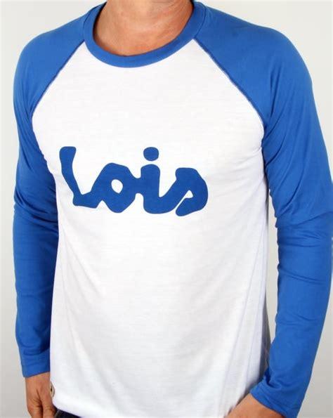 T Shirt Lois lois raglan logo t shirt white blue s sleeve
