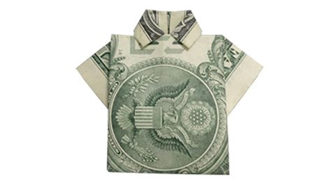 Dollar Origami Shirt - how to fold a money origami shirt