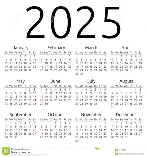 vector calendar 2025 sunday stock vector image 62409204
