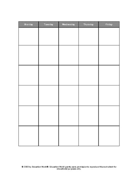 5 Day Work Week Calendar Template by Five Day Calendar Grid Template Education World