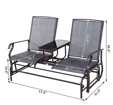 2 seater glider bench outsunny 2 seater patio glider rocking chair metal swing