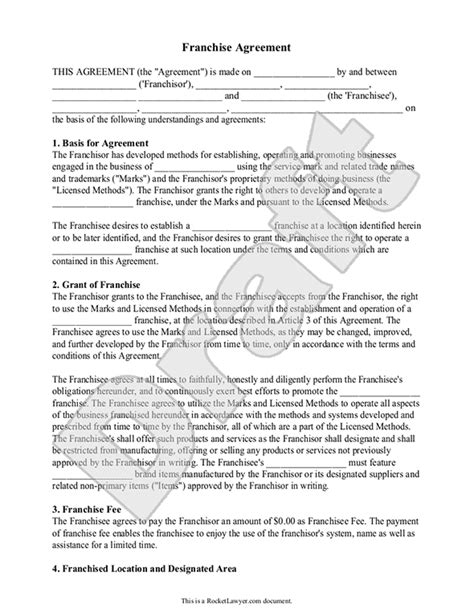 franchise agreement template free franchise contract agreement template sle templates