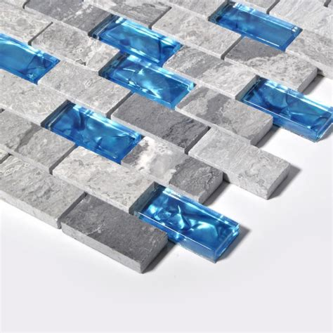 blue glass tile kitchen backsplash subway marble bathroom