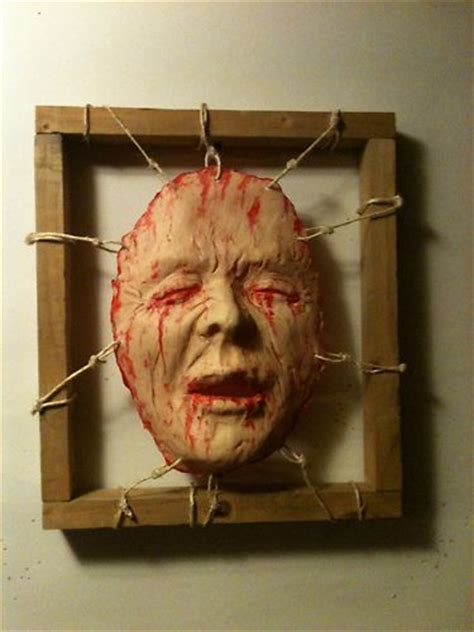 diy creepy halloween hand picture frame bloody dead skin framed face halloween haunt prop fx gory