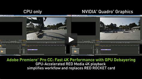 adobe premiere pro graphics card adobe premiere pro cc faster video editing nvidia