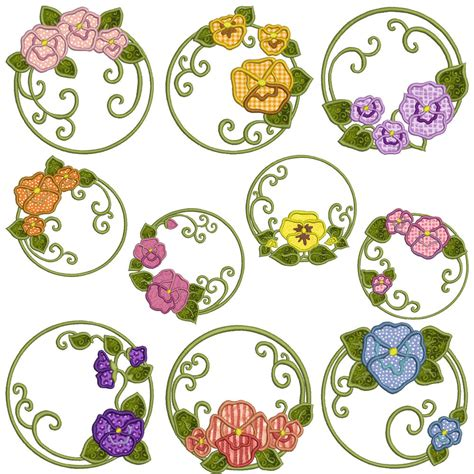 embroidery applique design pansies machine applique embroidery patterns 10