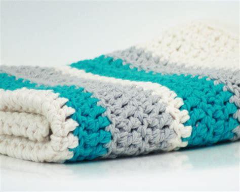 Kotton Mill Organic Baby Blanket Blue 1 items similar to modern crochet baby blanket organic cotton blue stripe on etsy