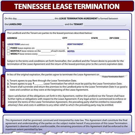 Landlord Eviction Notice Tennessee Tennessee Lease Termination