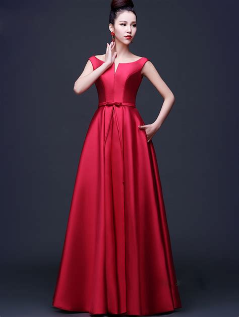 desain dress simple elegan long elegant prom dresses red vestidos de fiesta satin