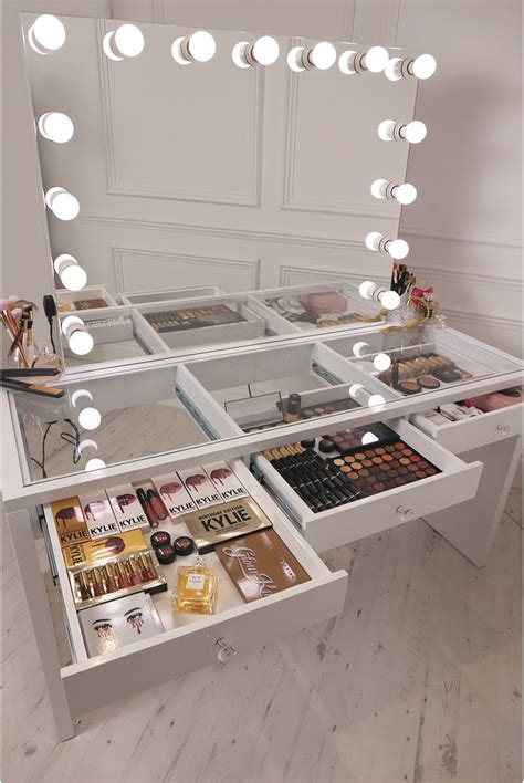 Glass Vanity Table With Mirror Crisp White Finish Slaystation Make Up Vanity With Premium Storage Three Spacious Drawers