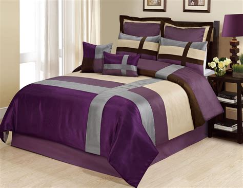 8 piece queen dorsey purple silver comforter set