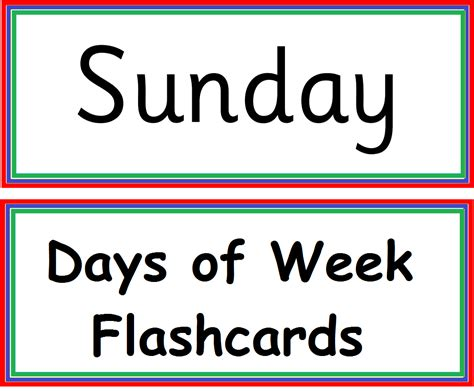 kindergarten worksheets days of week flashcard