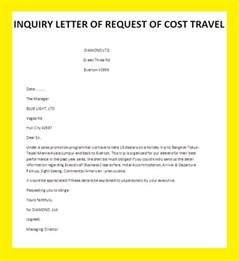 Inquiry Letter Information Inquiry Letter Of Request Of Cost Travel Letter Of Travel Cost Business Letter Exles