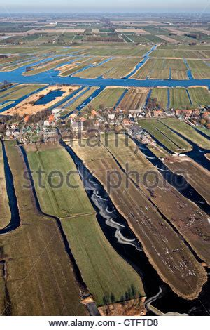 the netherlands, jisp, aerial of farms and polder