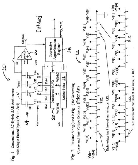 resistor capacitor hybrid adc patent us6864821 resistor capacitor r c hybrid successive approximation register sar