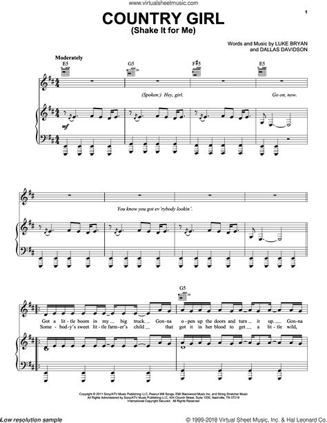 country music songs on guitar bryan country girl shake it for me sheet music for