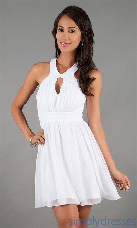 30708 White Informal V Neck Dress Dress Casual Mini Putih 20 all white casual dresses fashion fuz