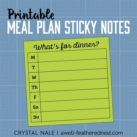 a well feathered nest plan your life printable planning a well feathered nest free printable weekly meal plan