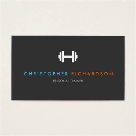 make personal business cards personal trainer logo with blue and orange text business