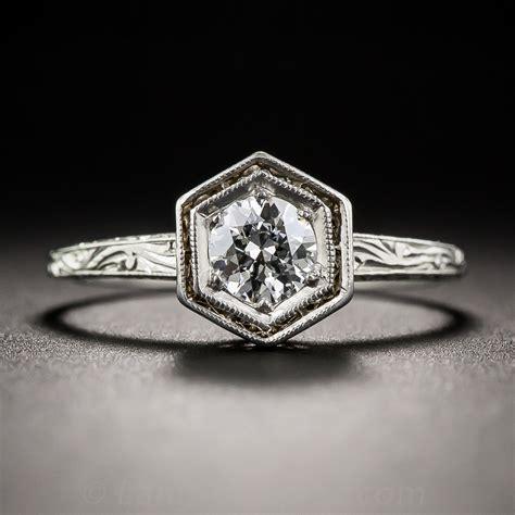 35 carat deco platinum engagement ring