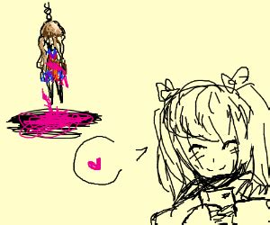 anime girl approves of suicide idea : noose drawing by