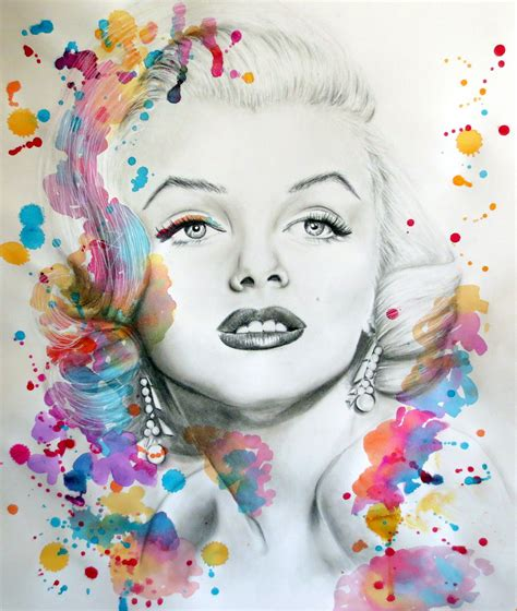 marilyn monroe art marilyn monroe pencil portrait and paint splash by