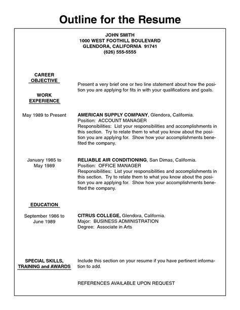 Resume Template Outline by Basic Resume Outline Template Resume Builder