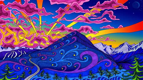 psychedelic colors mountains landscapes psychedelic artwork colors wallpaper